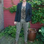 Grey green baggy trousers with jacket and animal print