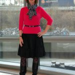 Black wide skirt with raspberry jumper and polka dots