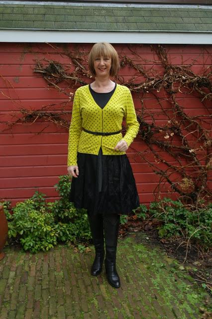 Yellow polka dot cardigan