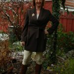 Brown jacket, cream skinny, cognac boots