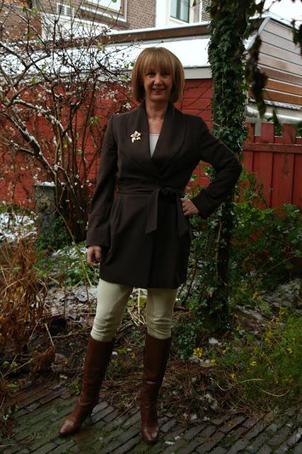 Brown jacket, cream skinny, cognac boots