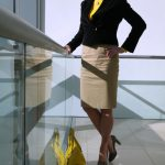 Brown velvet jacket and camel pencil skirt