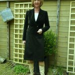 Charcoal A-line skirt with different jackets