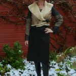 Fur jacket with charcoal skirt