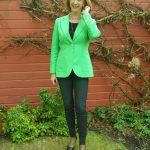 Kermit green jacket with black skinnies