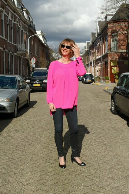 Pink neon top in two combinations