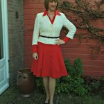 Red La Dress dress with two different jackets