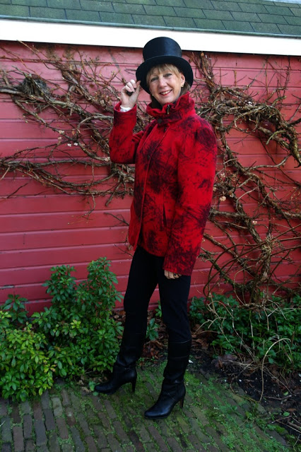 Red short coat and a top hat
