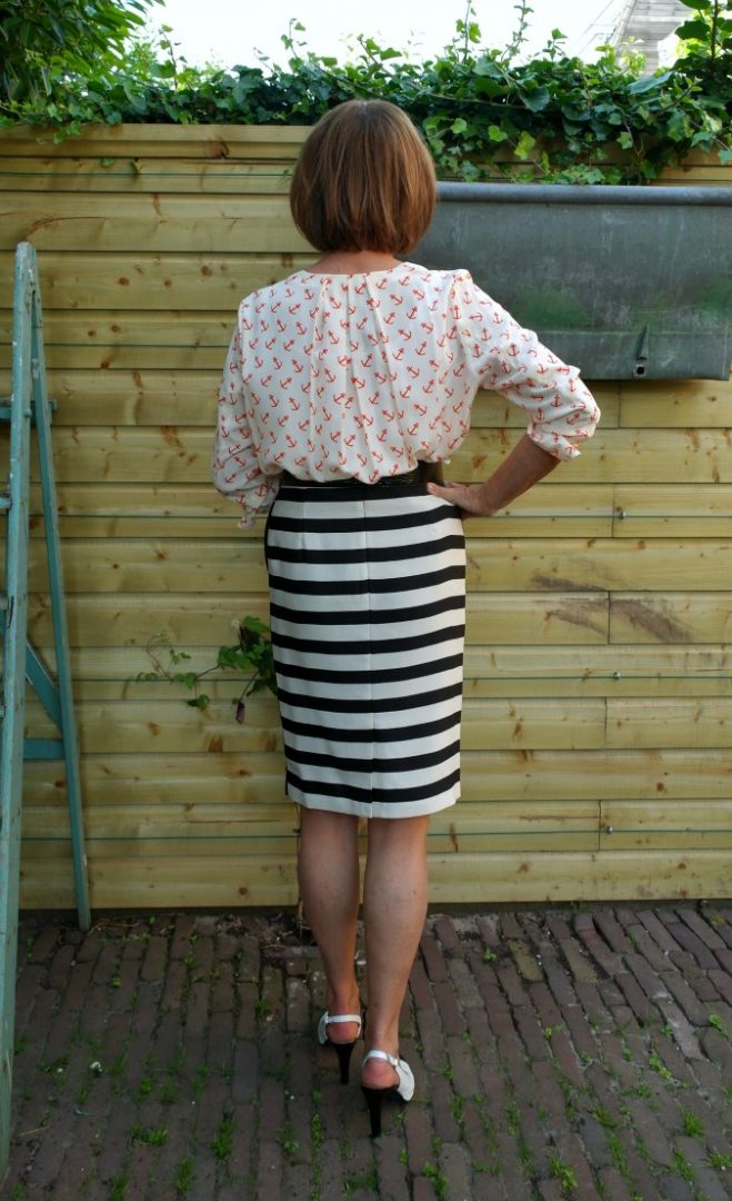 Anchor blouse with B&W striped skirt 2