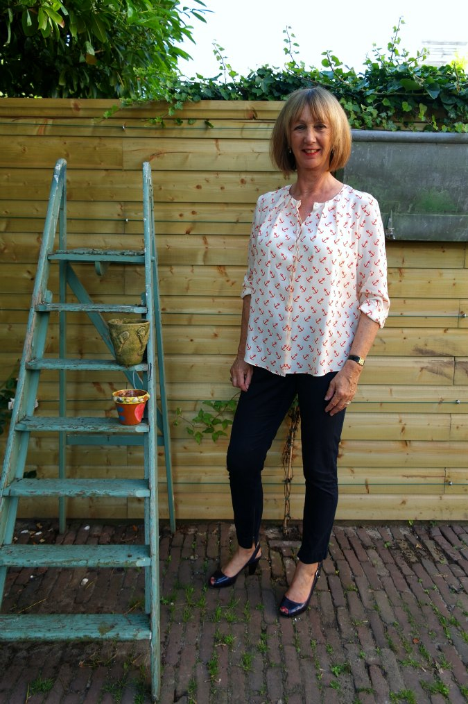 Anchor blouse with blue trousers 2