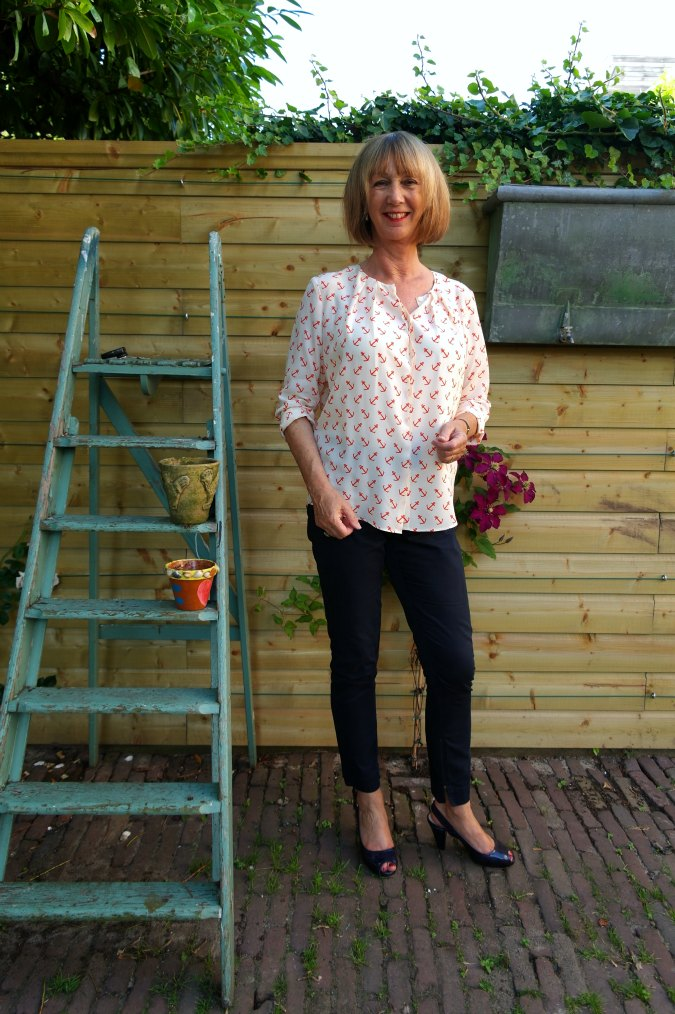 Anchor blouse with blue trousers 3