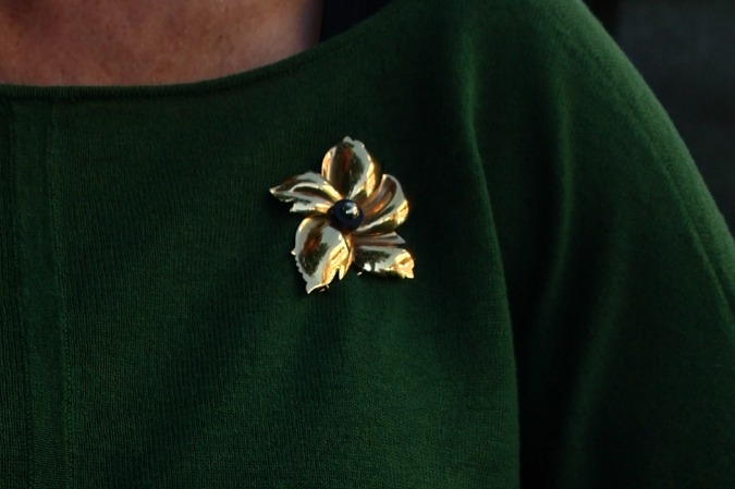 Green Max Mara sweater brooch