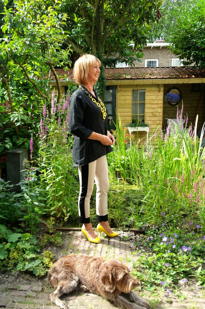 Max Mara stripe trousers with black top 1