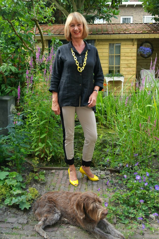 Max Mara stripe trousers with black top 2
