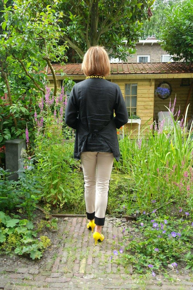 Max Mara stripe trousers with black top 4