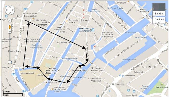 Amsterdam Dam square area map2