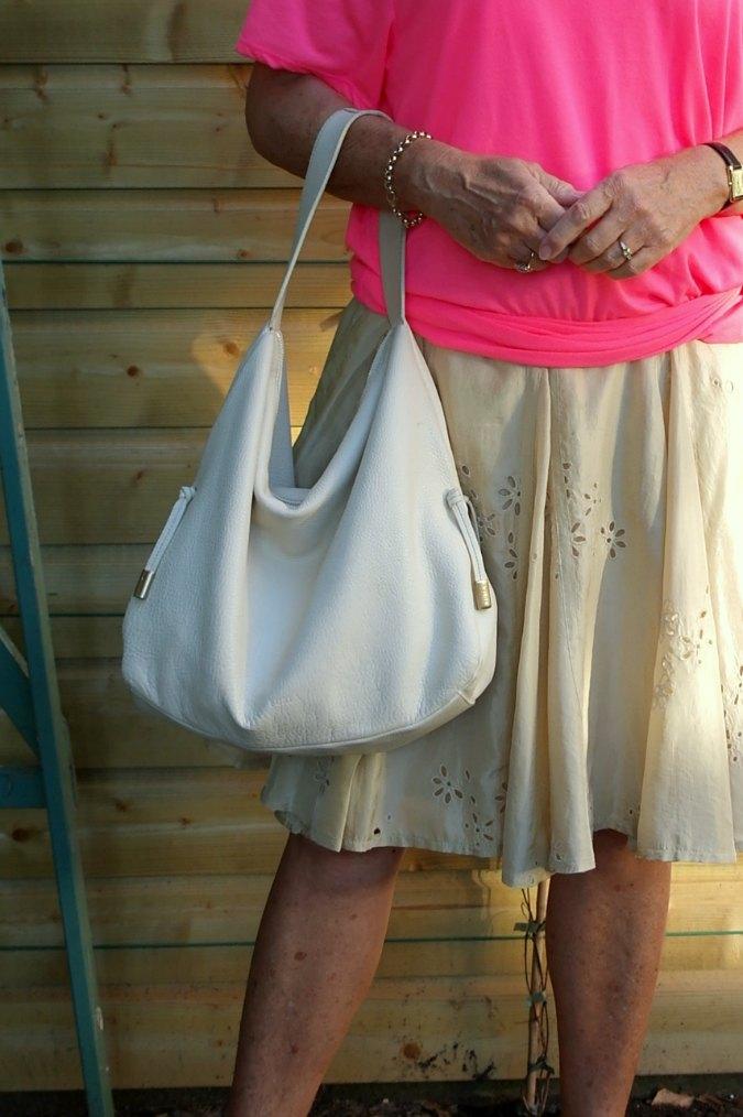 Pink T-shirt and gold silk skirt 6