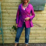 Purple silk jacket with distressed jeans and white slingbacks