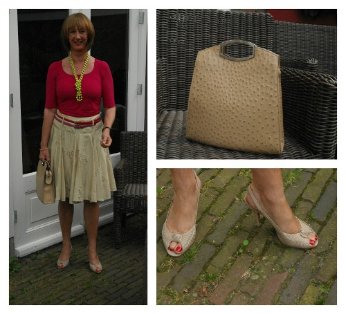Sand skirt, raspberry top Collage 1S
