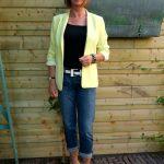 Yellow summer jacket, yellow sandals, black&white accessories