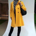 Yellow coat, green silk blouse and B&W body