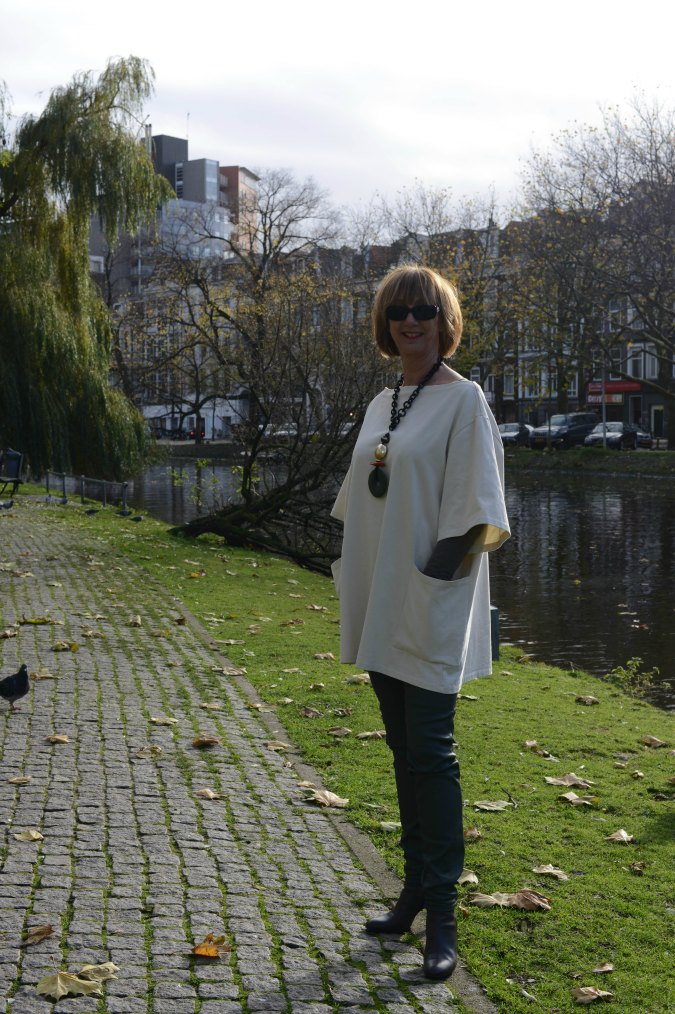 Green coated skinnies with cream tunic 2