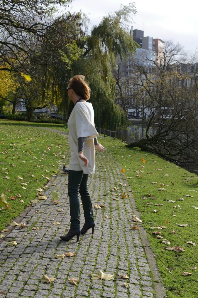 Green coated skinnies with cream tunic 8