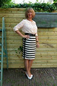 Anchor blouse with B&W striped skirt 1