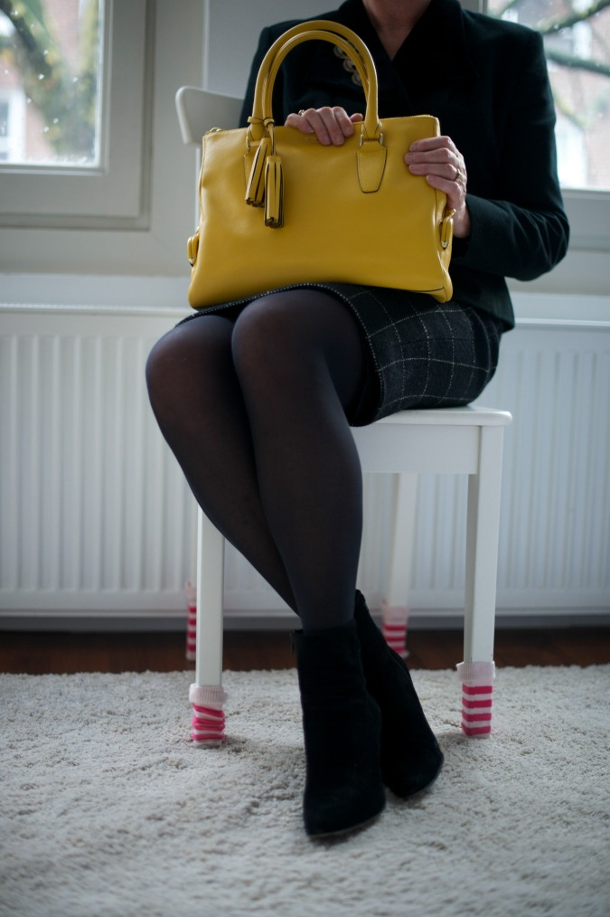 Black jacket with black and white pencil skirt 3