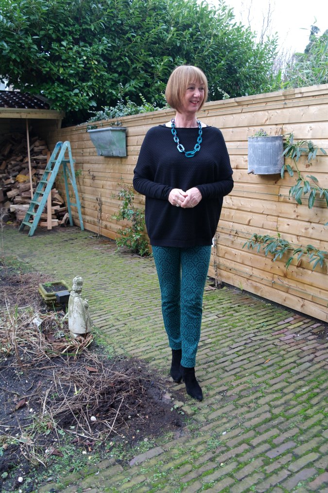 Max Mara skinnies with teal necklace 2