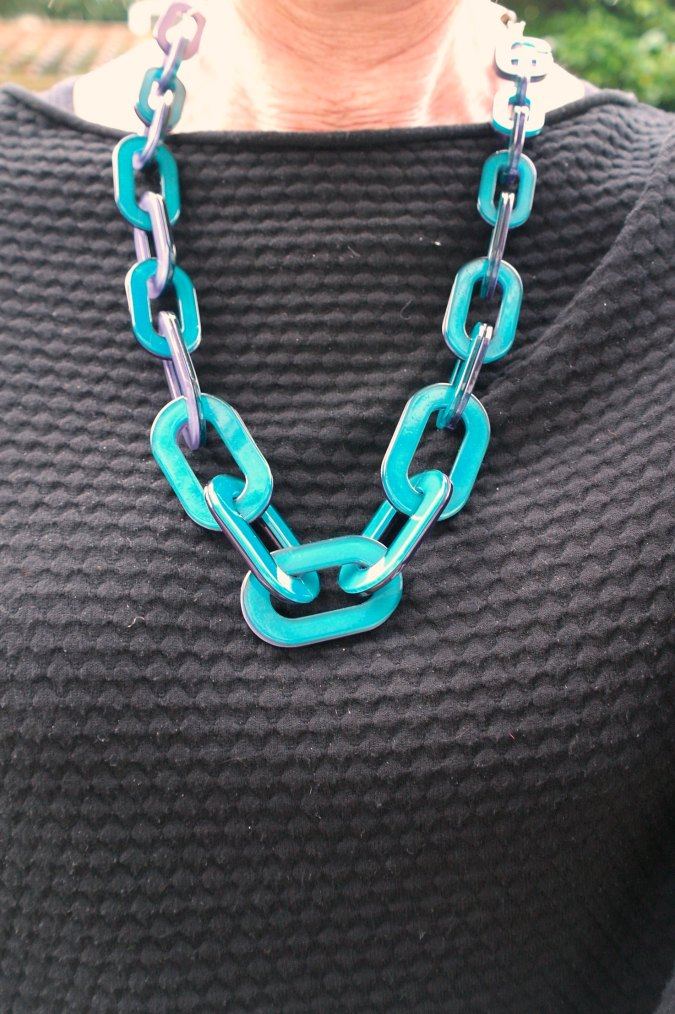 Max Mara skinnies with teal necklace 3
