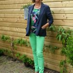 Blue Kenzo jacket with green and yellow skinnies