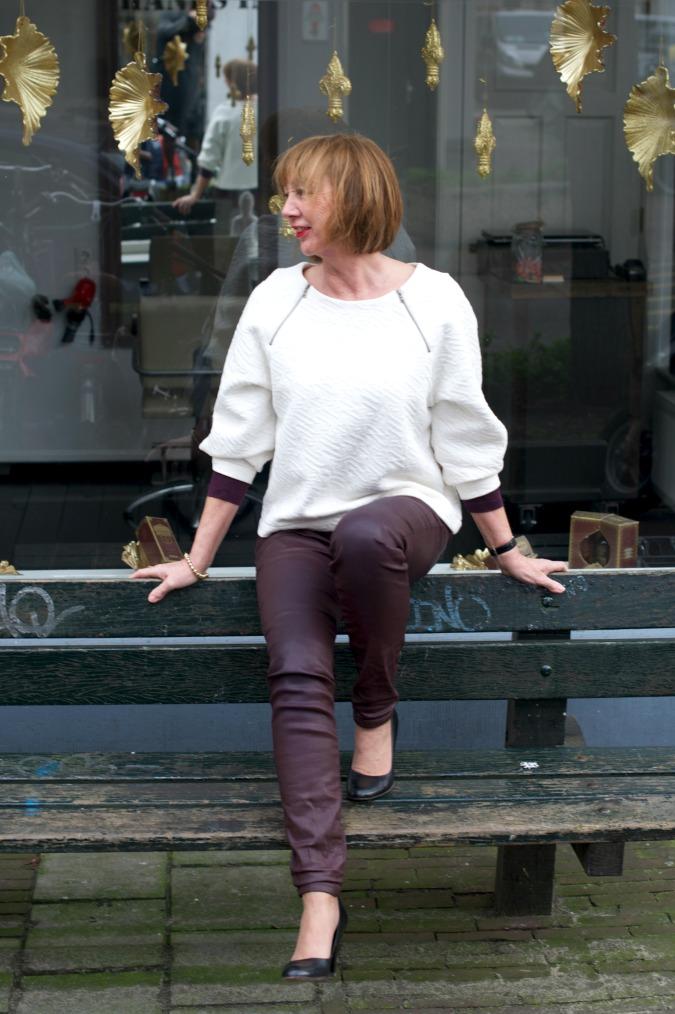 Burgundy skinnies cream sweater 3
