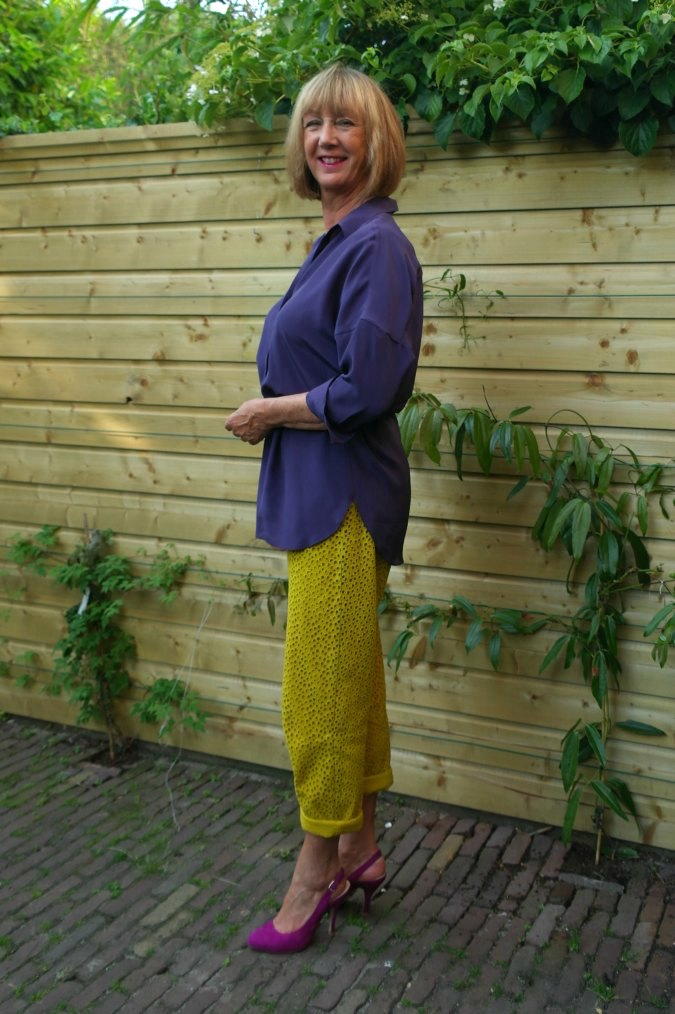 Yellow ochre trousers with purple top 2