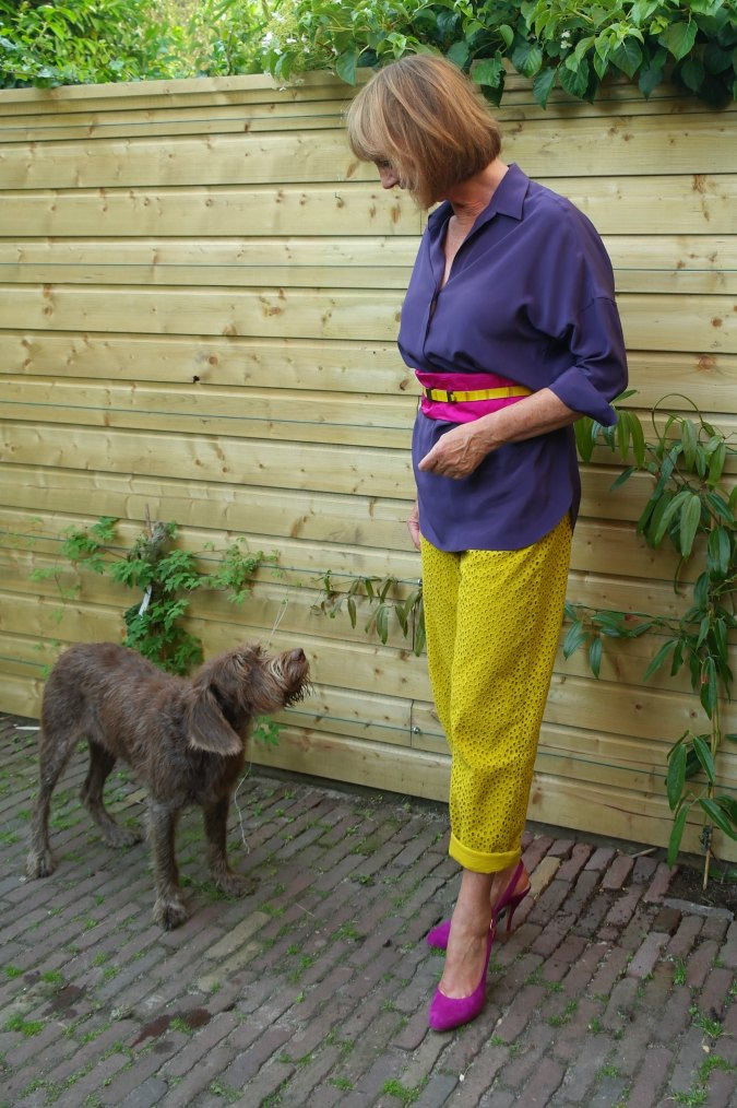 Yellow ochre trousers with purple top 4