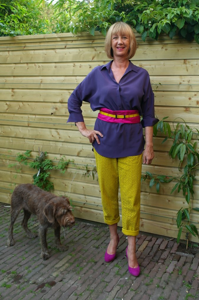 Yellow ochre trousers with purple top 5