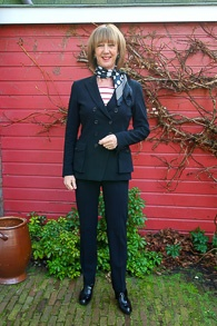 Black Pauw trouser suit, red & white stripe 3_LR