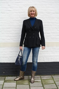 Golden boots, black Pauw jacket and skinny jeans (1 van 1)