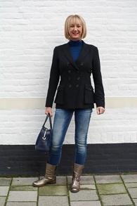 Golden boots, black Pauw jacket and skinny jeans (1 van 1)
