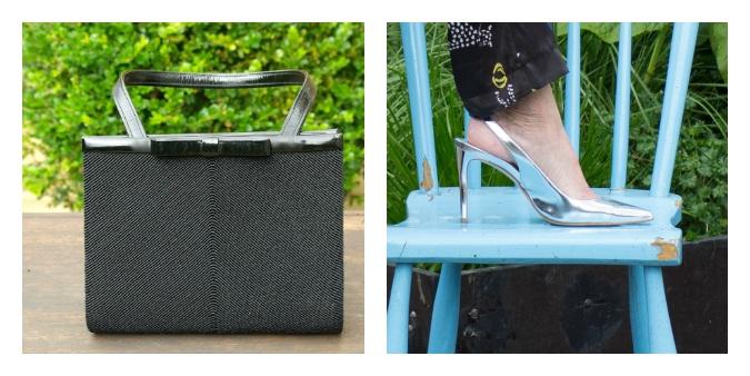 Silver shoes and black vintage bag