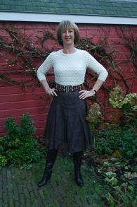 brown sheer skirt cream sweater (1 van 1)