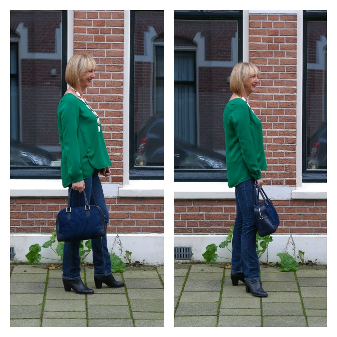Green blouse jeans wrong and right