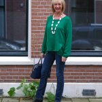 Green blouse with jeans