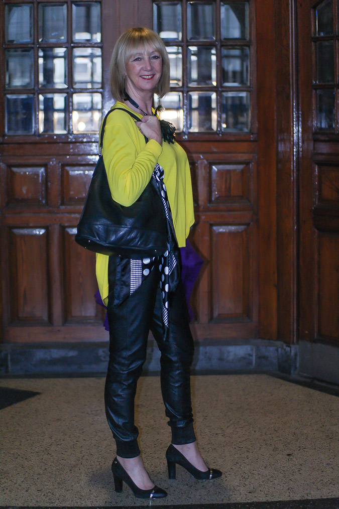 Yellow Kenzo sweater black leather trousers (4 van 20)