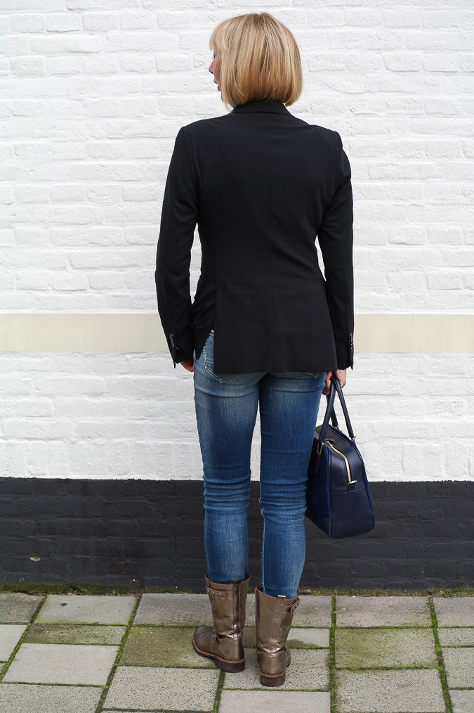 Golden boots, black Pauw jacket and skinny jeans (2 van 7)