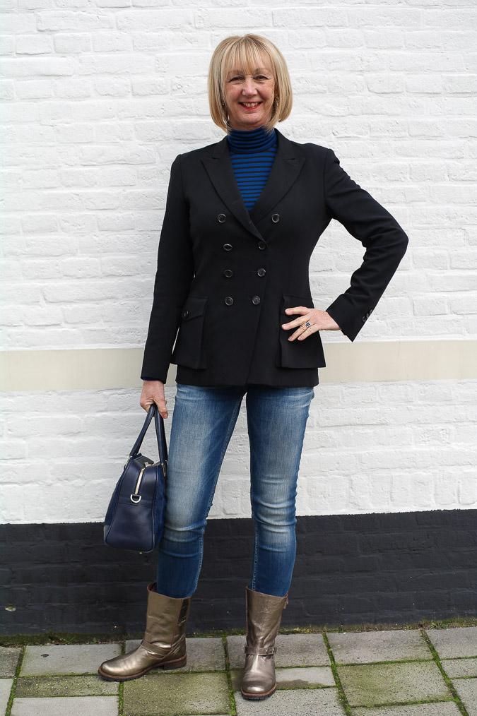 Golden boots, black Pauw jacket and skinny jeans (4 van 7)
