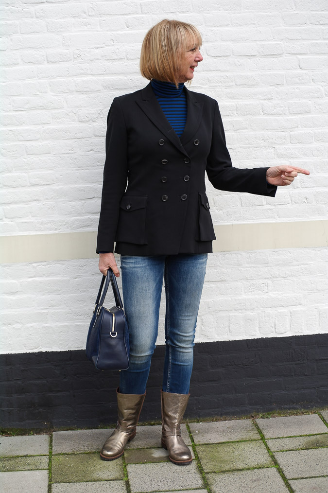 Golden boots, black Pauw jacket and skinny jeans (5 van 7)