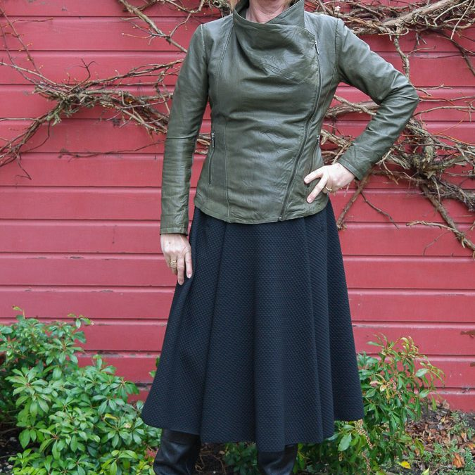 A leather jacket with skirts
