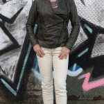 Green leather jacket with cream skinnies