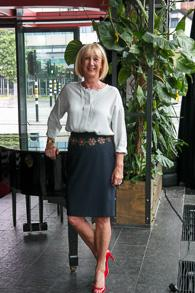 blue pencil skirt with Marlene Birger blue blouse
